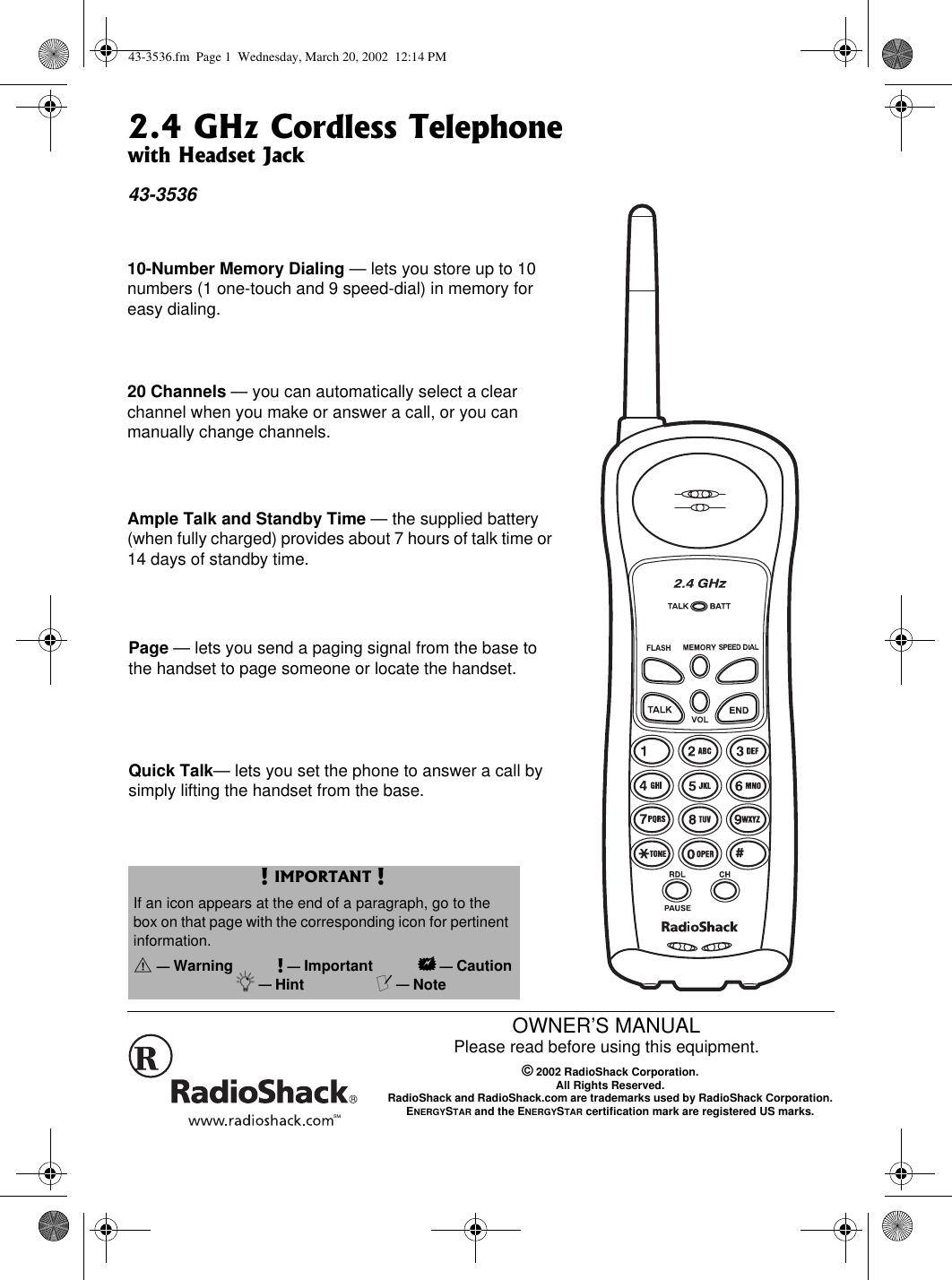 Radio Shack 4303536 Cordless Telephone - Base User Manual
