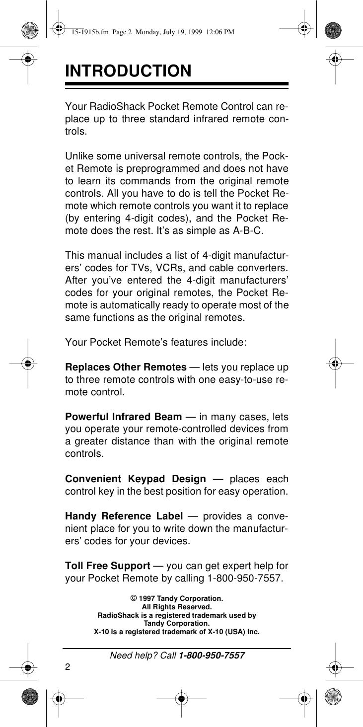 Radio Shack 15 1915B Users Manual