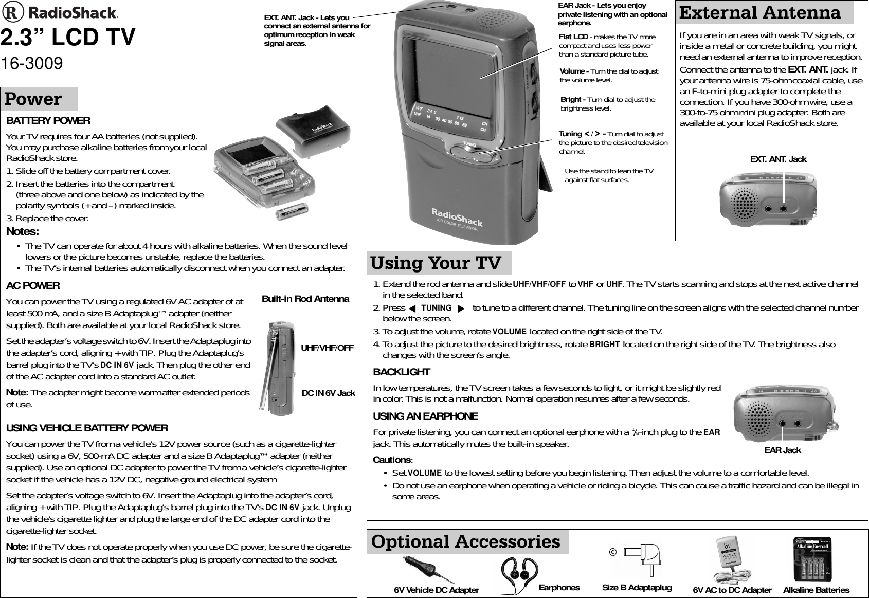 Radio Shack 16 3009 Users Manual