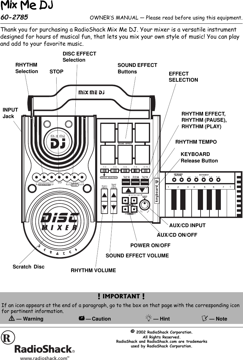 Radio Shack Mix Me Dj 60 2785 Users Manual