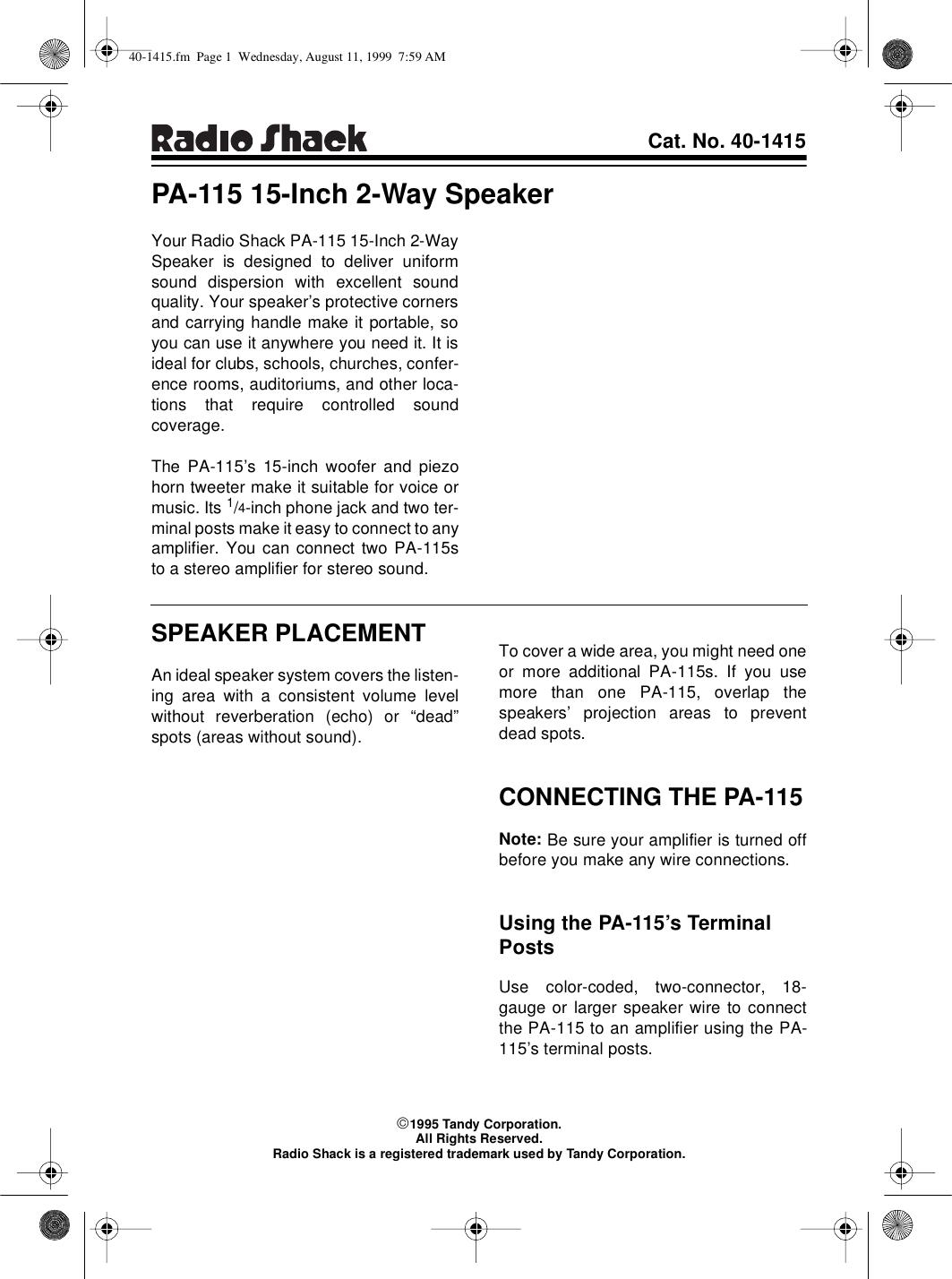 Radio Shack Pa 115 Users Manual 40 1415 1 4 Inch Jack Wiring