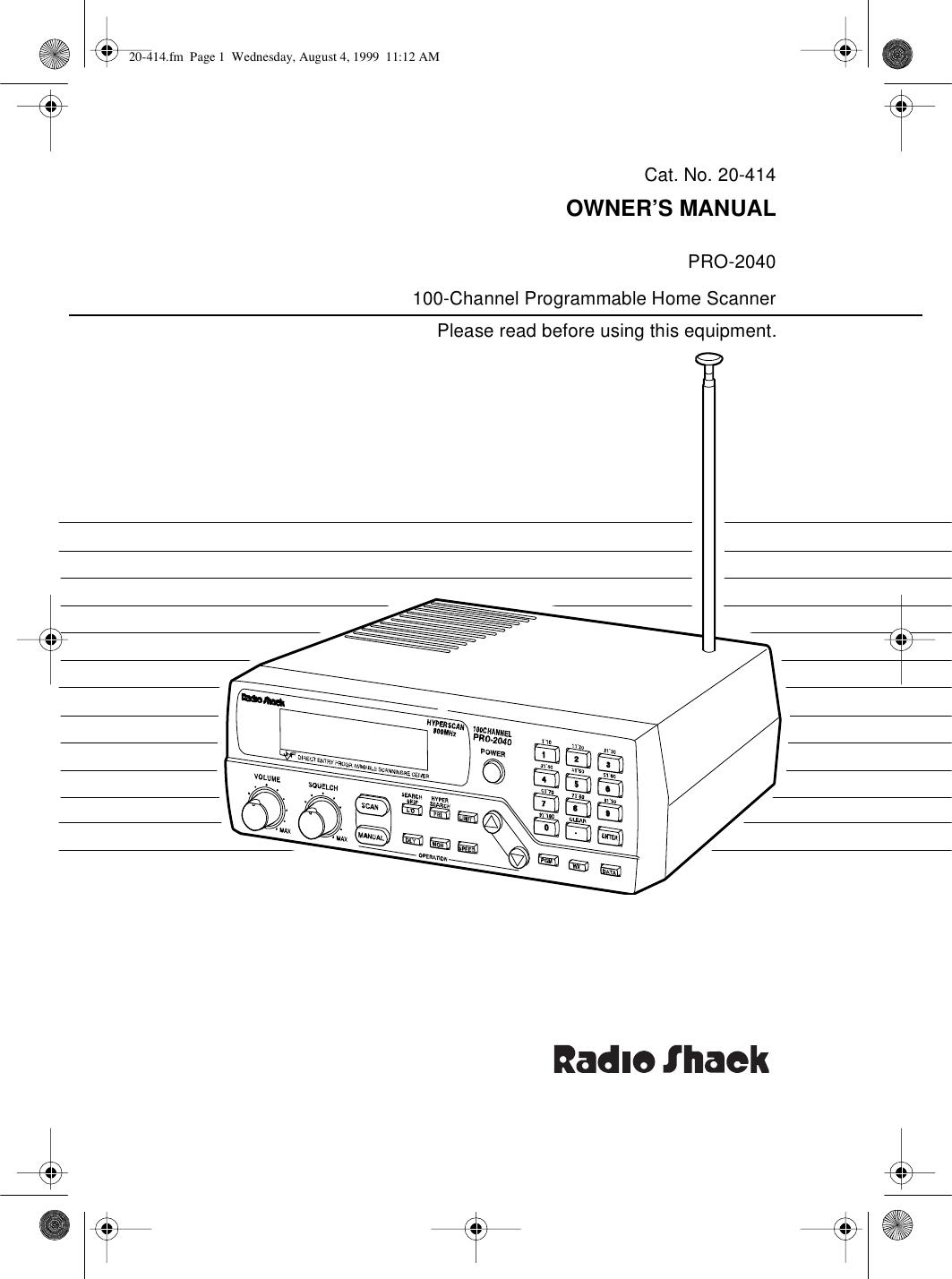 Radio Shack Pro 2040 Users Manual 20 414