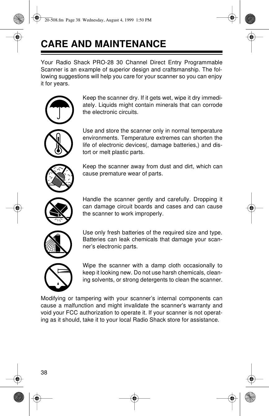 Radio Shack Pro 28 Users Manual 20 508