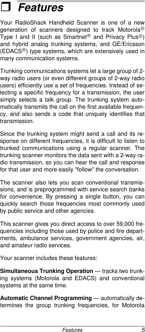 Radio Shack Pro 93 Users Manual Www RadioShack With CircleR