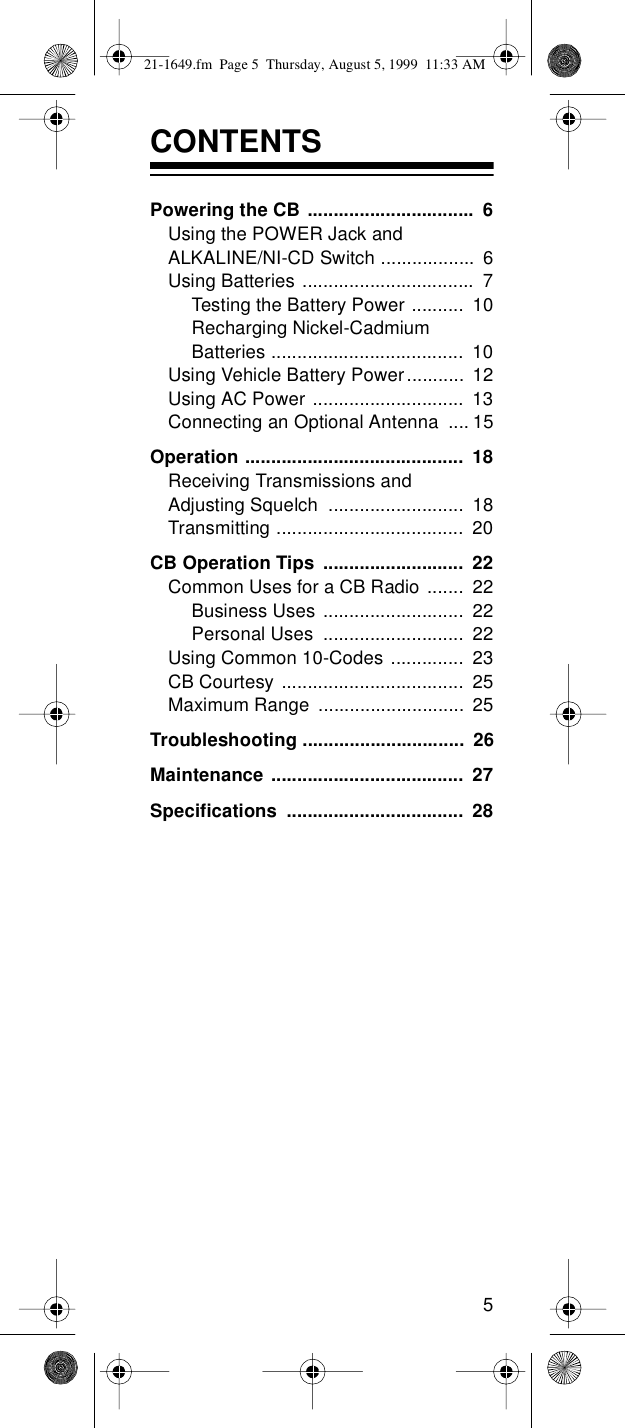 Radio Shack Trc 236 Users Manual 21 1649