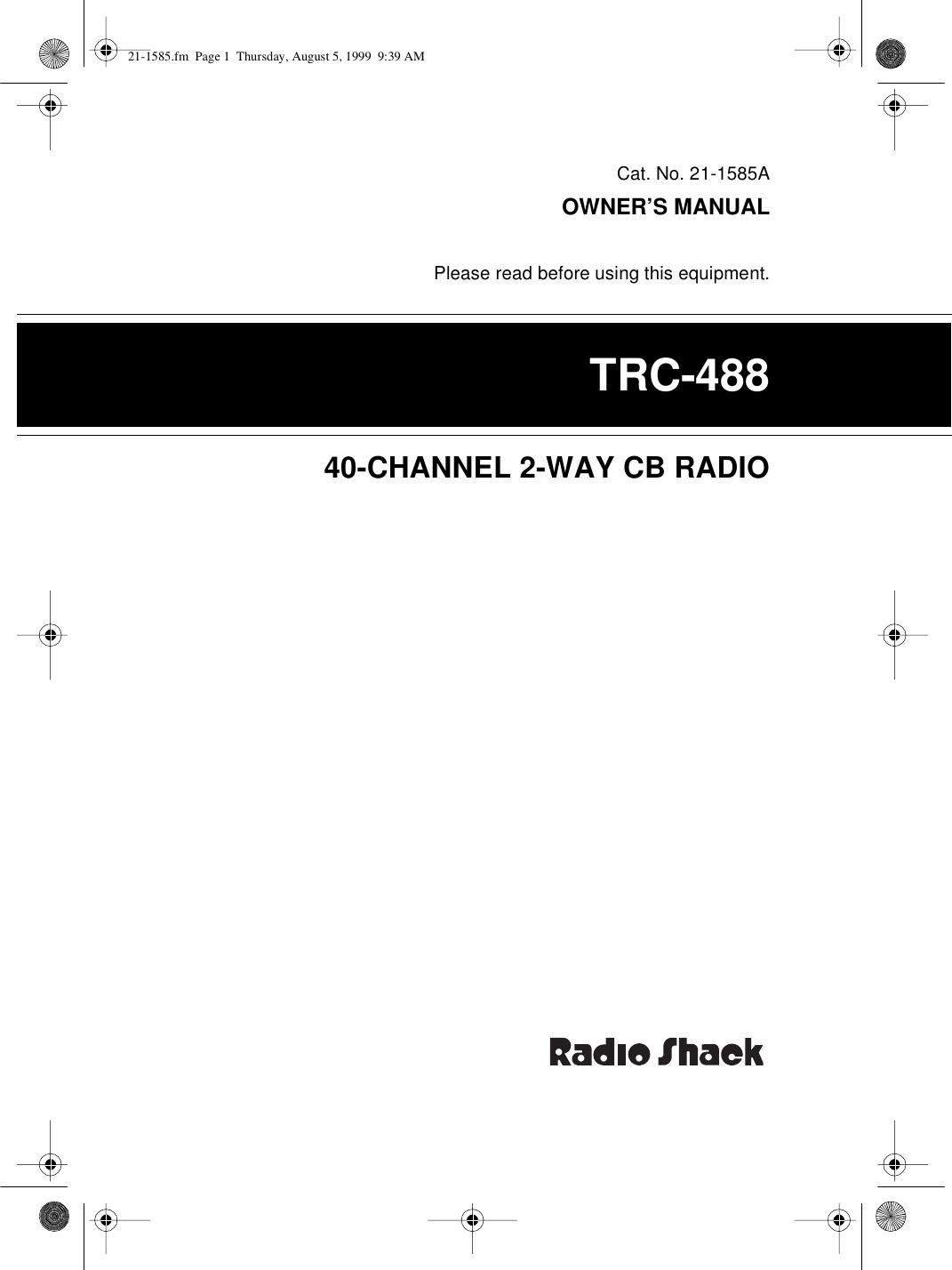 Radio Shack Trc 488 Users Manual 21 1585 Cb Mic Wiring