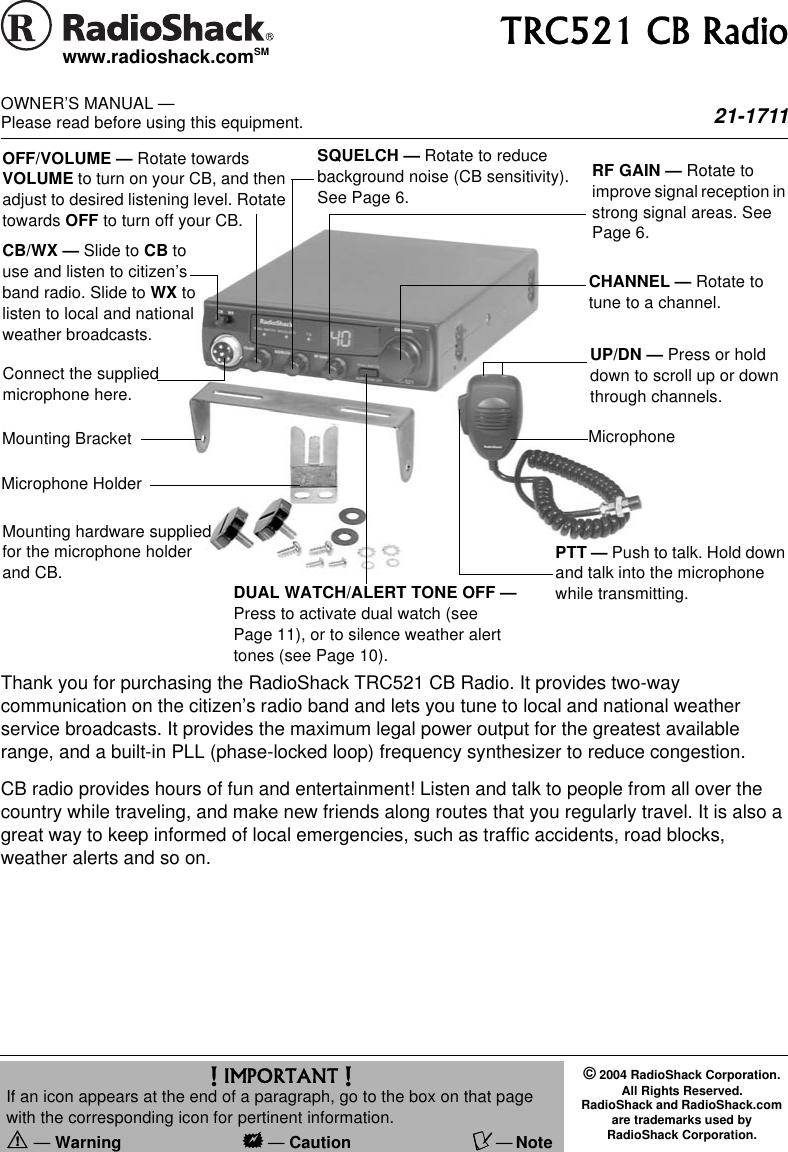 Radio Shack Trc521 Cb Users Manual 21 1711 Mic Wiring