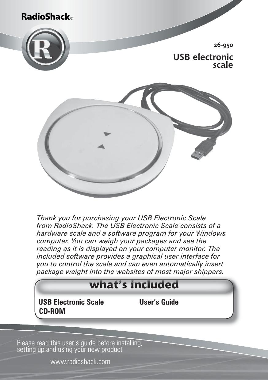 Radio Shack Usb Electronic Scale Users Manual 26 950