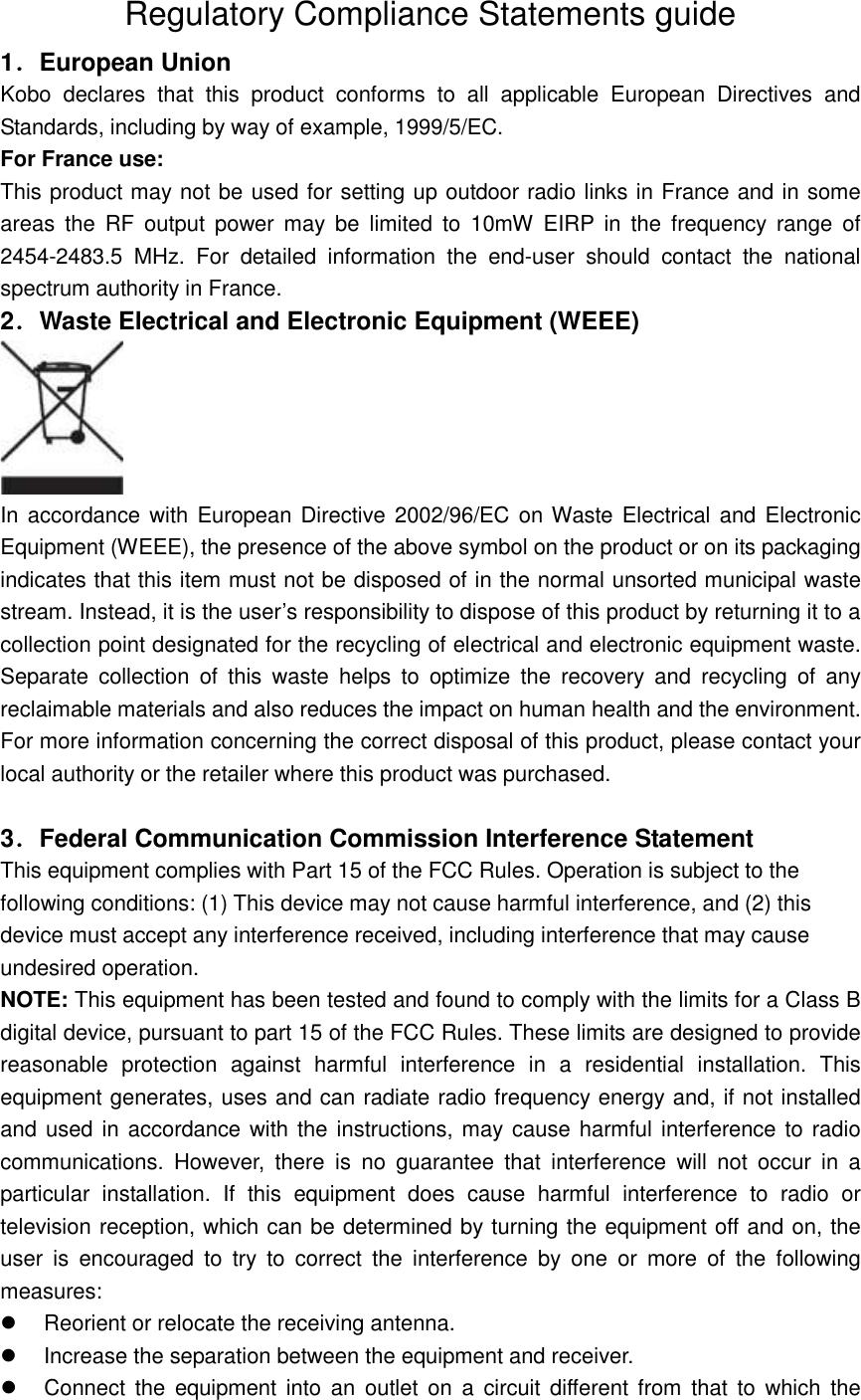 rakuten kobo kobon905 ereader user manual kebo compliance statement rh usermanual wiki kobo instruction manual kobo touch user manual pdf