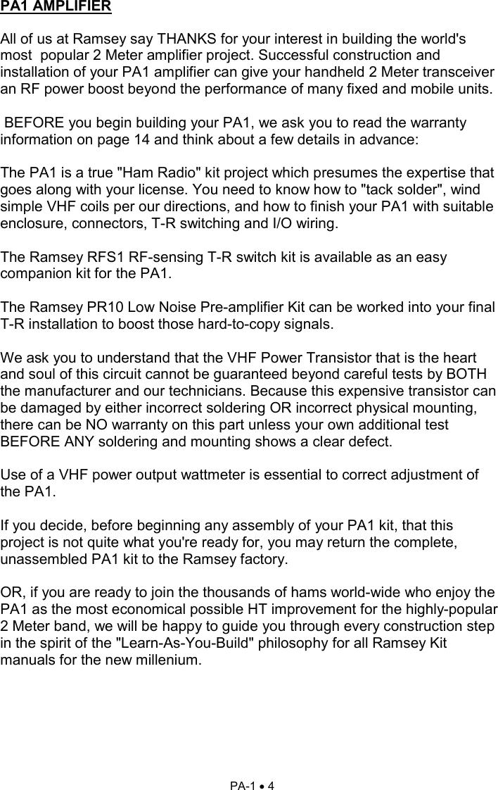 Ramsey Electronics 2 Meter Rf Power Amplifier Kit Pa1 Users
