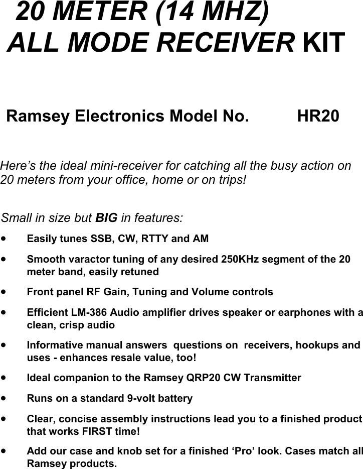 Ramsey Electronics Hr20 Users Manual