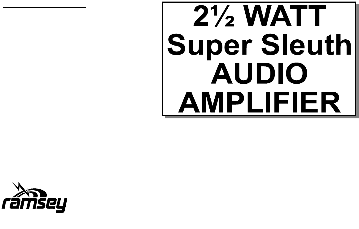 Ramsey Electronics Stereo Amplifier 2 1 Watt Super Sleuth Audio Lm380 Power Circuit Users Manual Bn9pdf