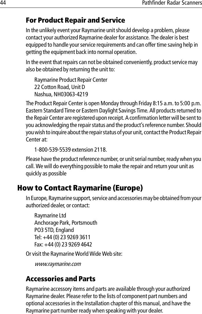 Raymarine Pathfinder Radar Scanner Handbook 81154_7