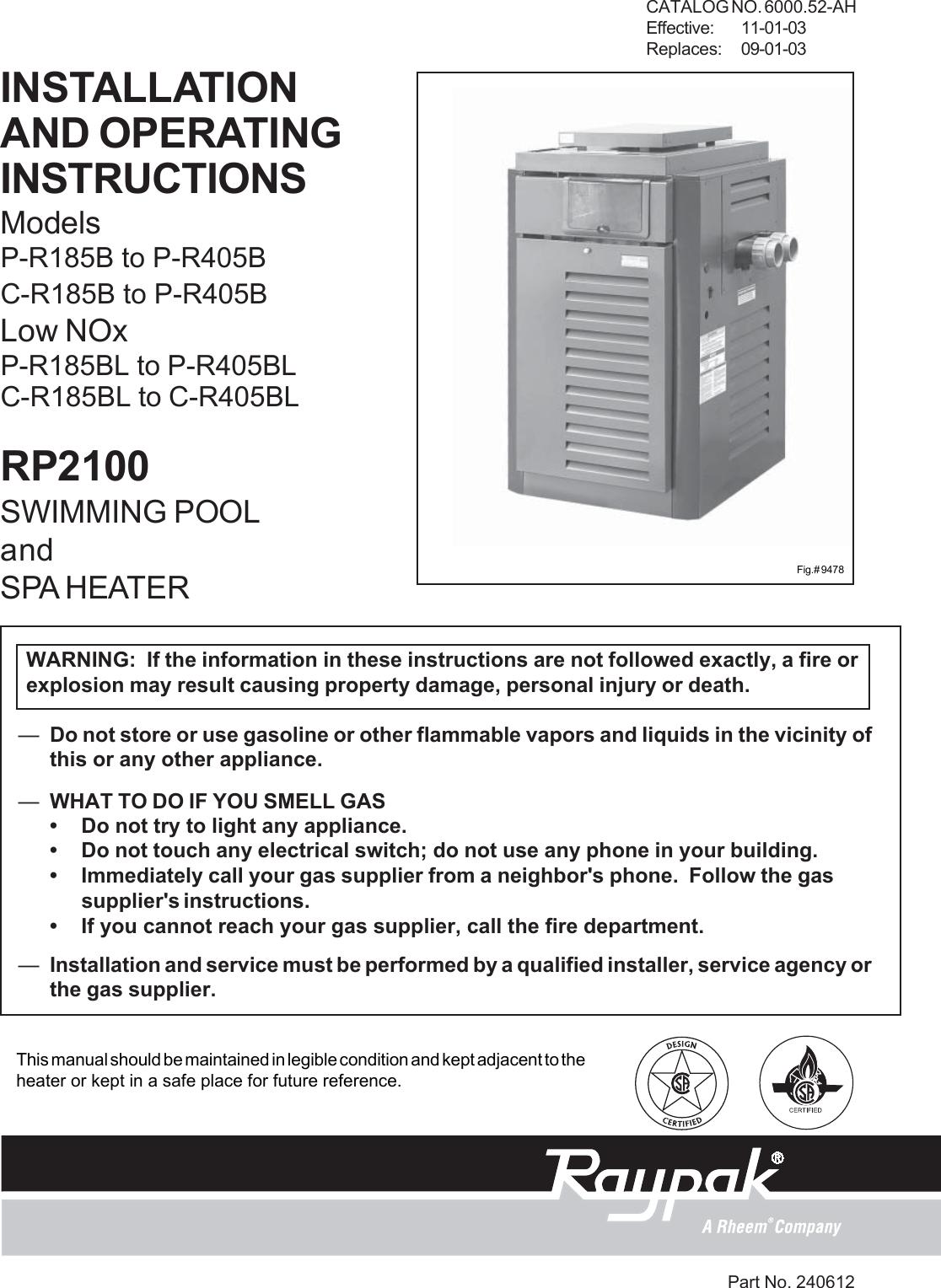 Raypak P R185B To R405B C R185Bl R405Bl Rp2100 Users Manual 6000.52 New  185B 405B.pmd