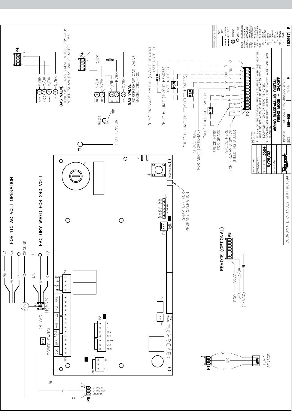 Raypak P R185b To R P405b C R405b R185bl R405bl Users Manual 600052 Air Pressor 240 Volt Wiring Diagram Iid Atmospheric