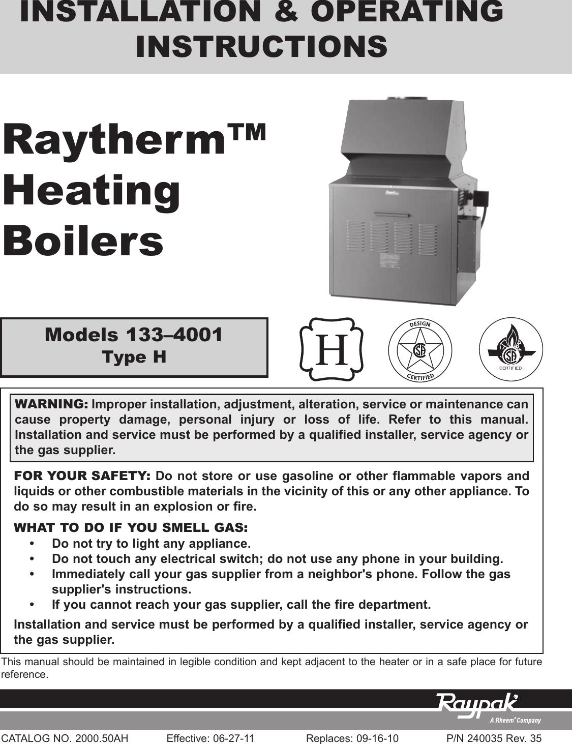 Raypak Boiler Manuals Model 0133 4001 - Daily Instruction Manual ...