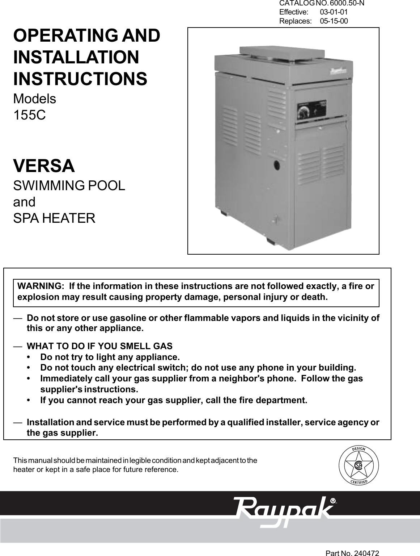 Raypak Versa 155C Users Manual 6000.50 (Versa 155).p65 on