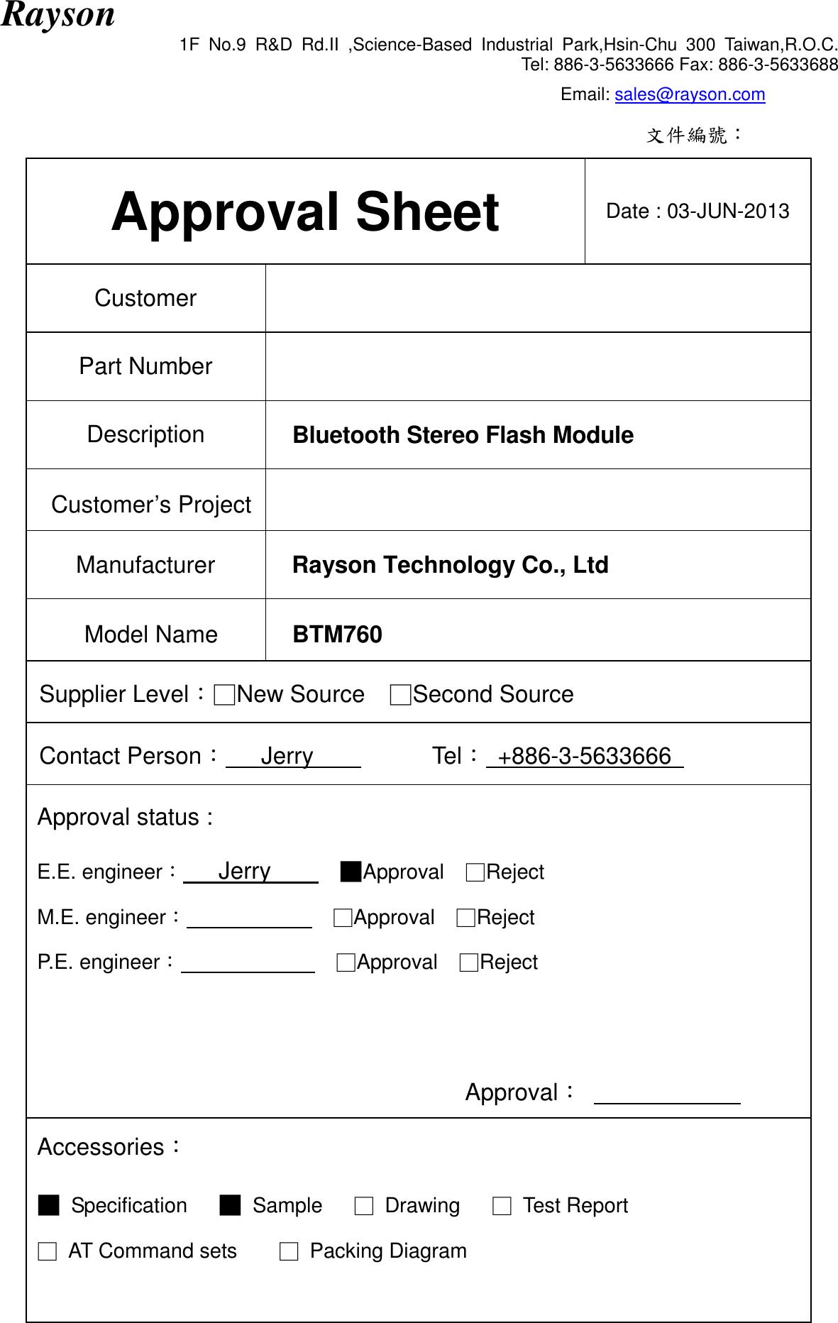 Rayson Technology BTM76X Bluetooth Module User Manual User s
