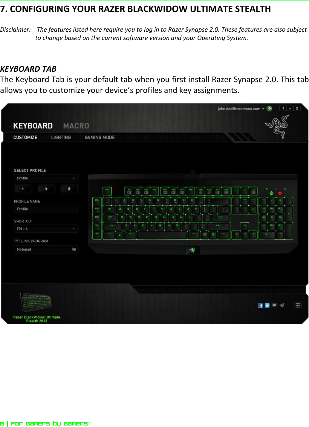 Razer Blackwidow Ultimate Stealth Edition Owner S Manual Online