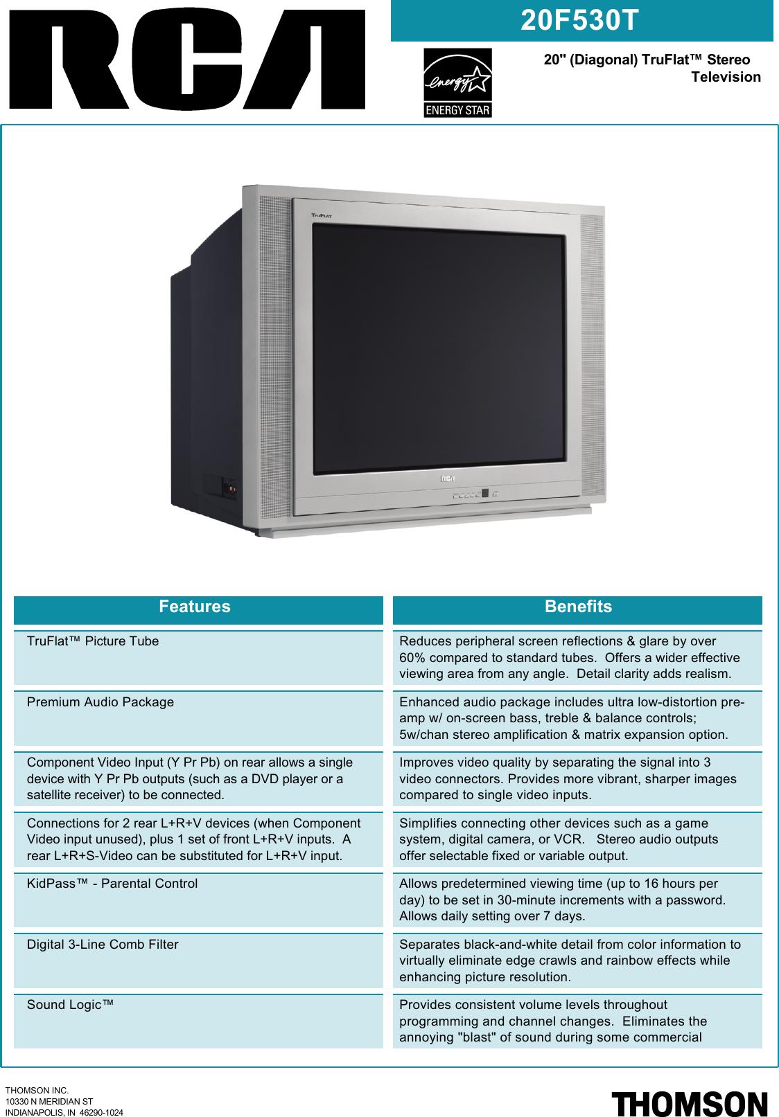 Rca 20F530T Users Manual