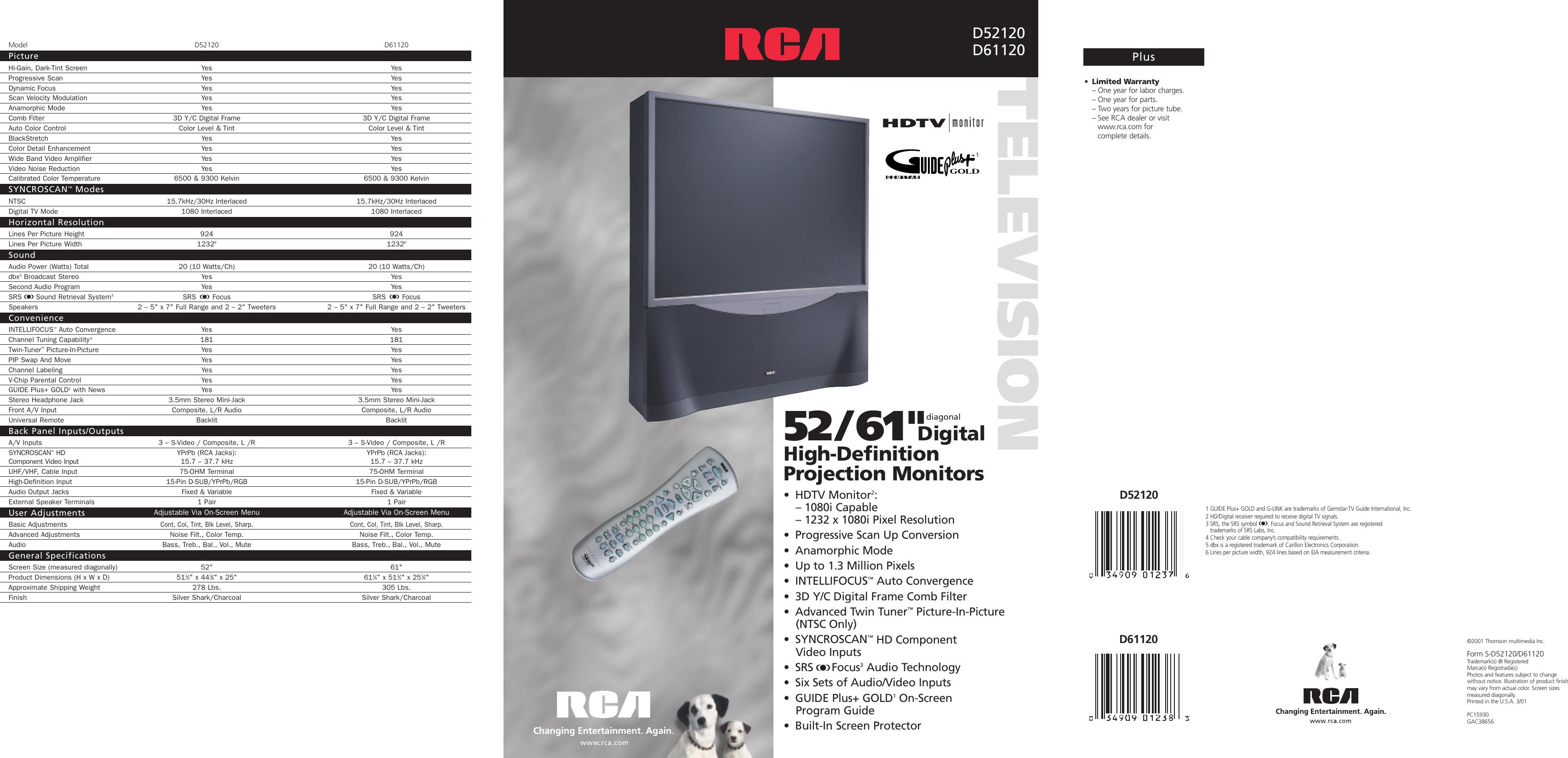 Rca D52120 Users Manual D61120