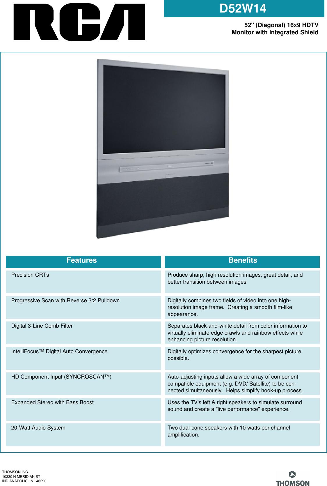 Rca D52W14 Users Manual