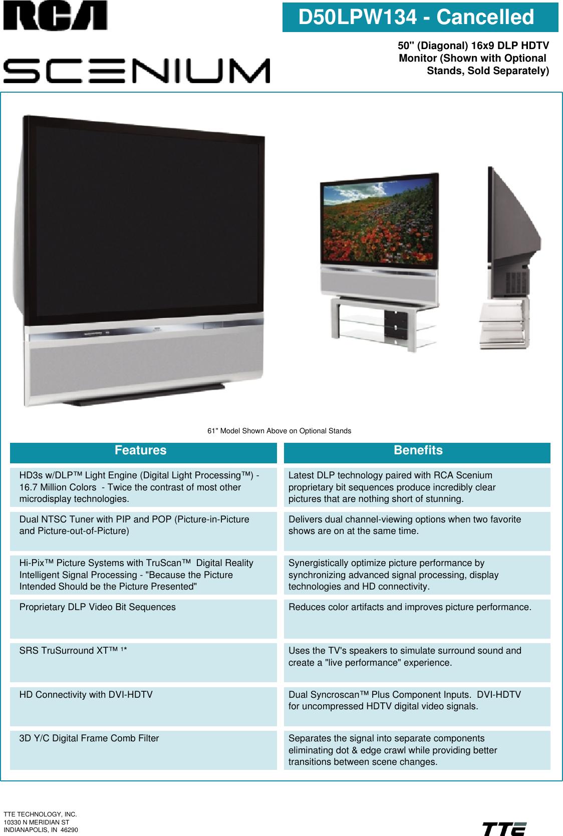 Rca Scenium D50Lpw134 Users Manual