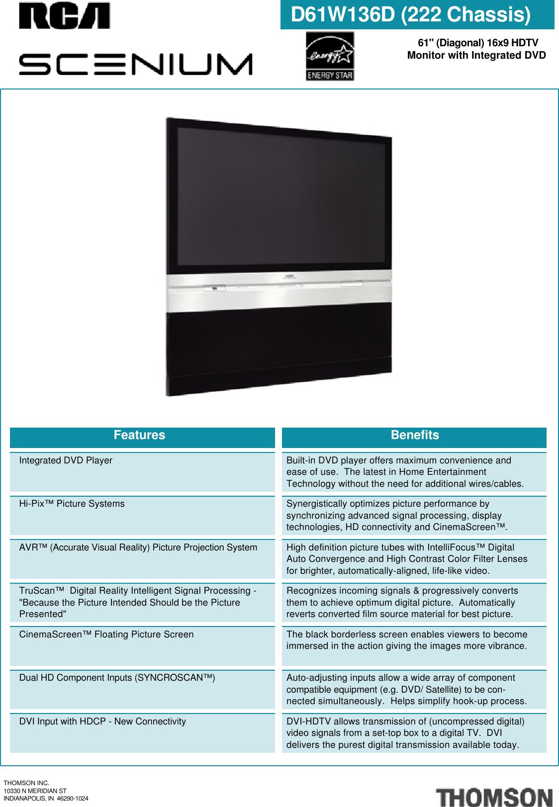 Rca Scenium D61W136D Users Manual