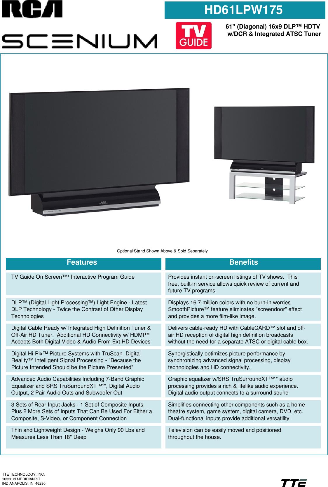 Rca Scenium Hd61Lpw175 Users Manual