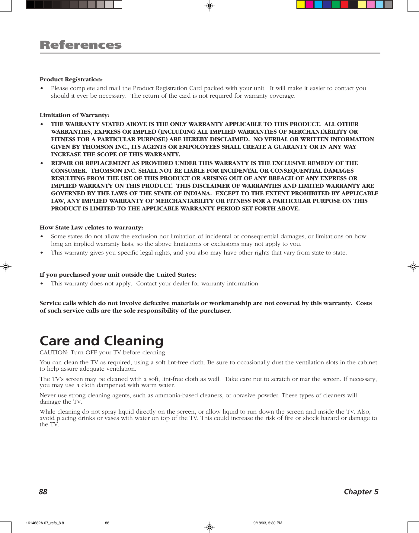Rca Scenium Hdlp50W151 Users Manual 1614682B
