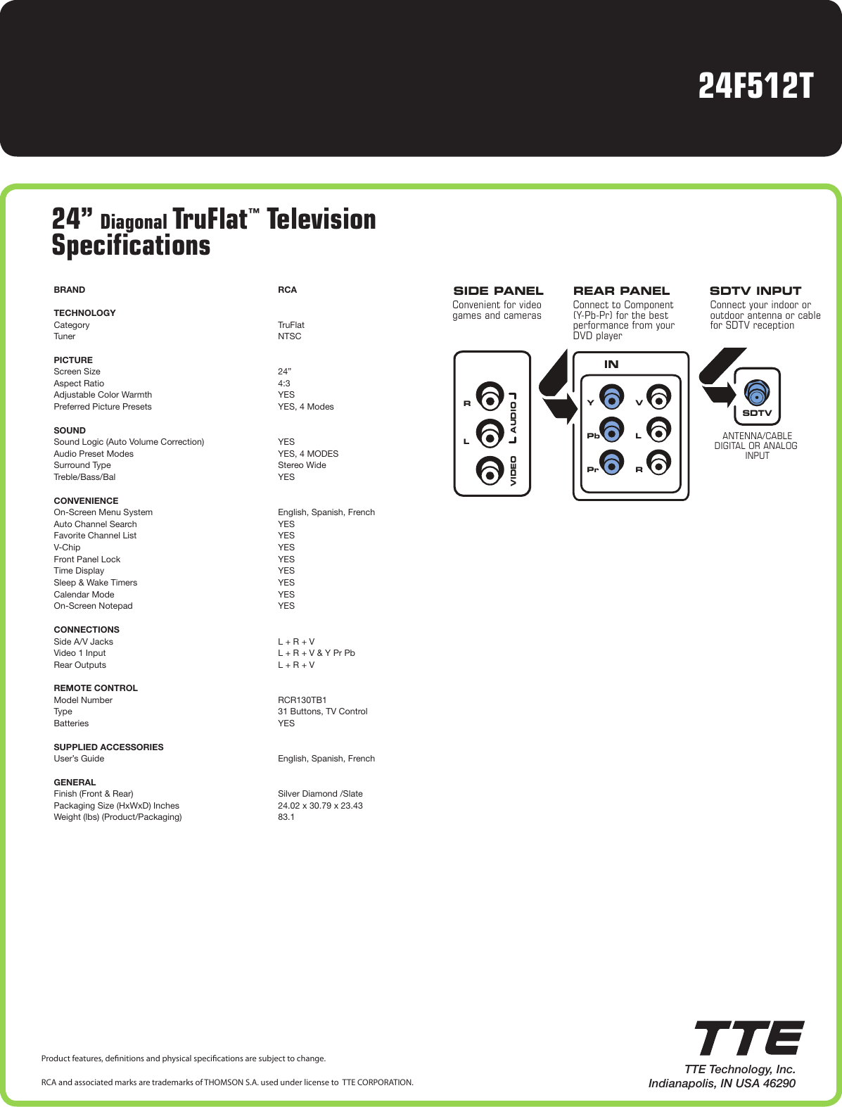 rca truflat sdtv manual