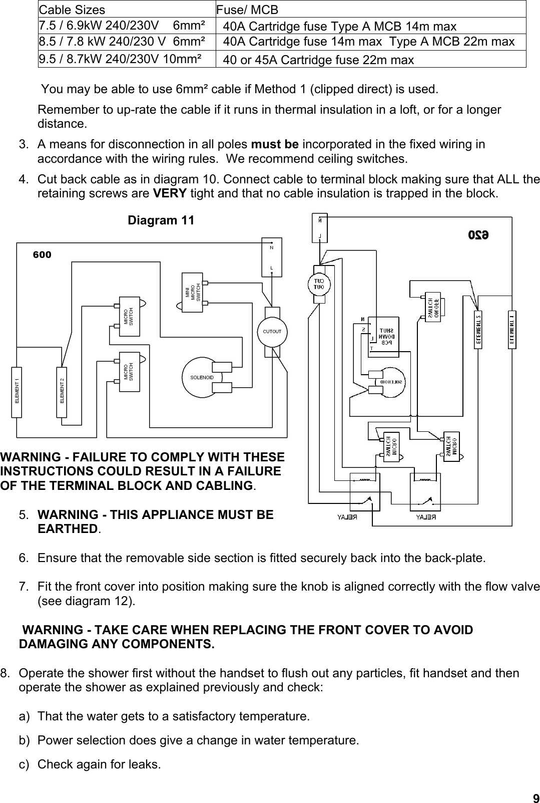 Redring 600 Users Manual 620 Handbook Wiring A Shower Ceiling Switch Page 9 Of 12