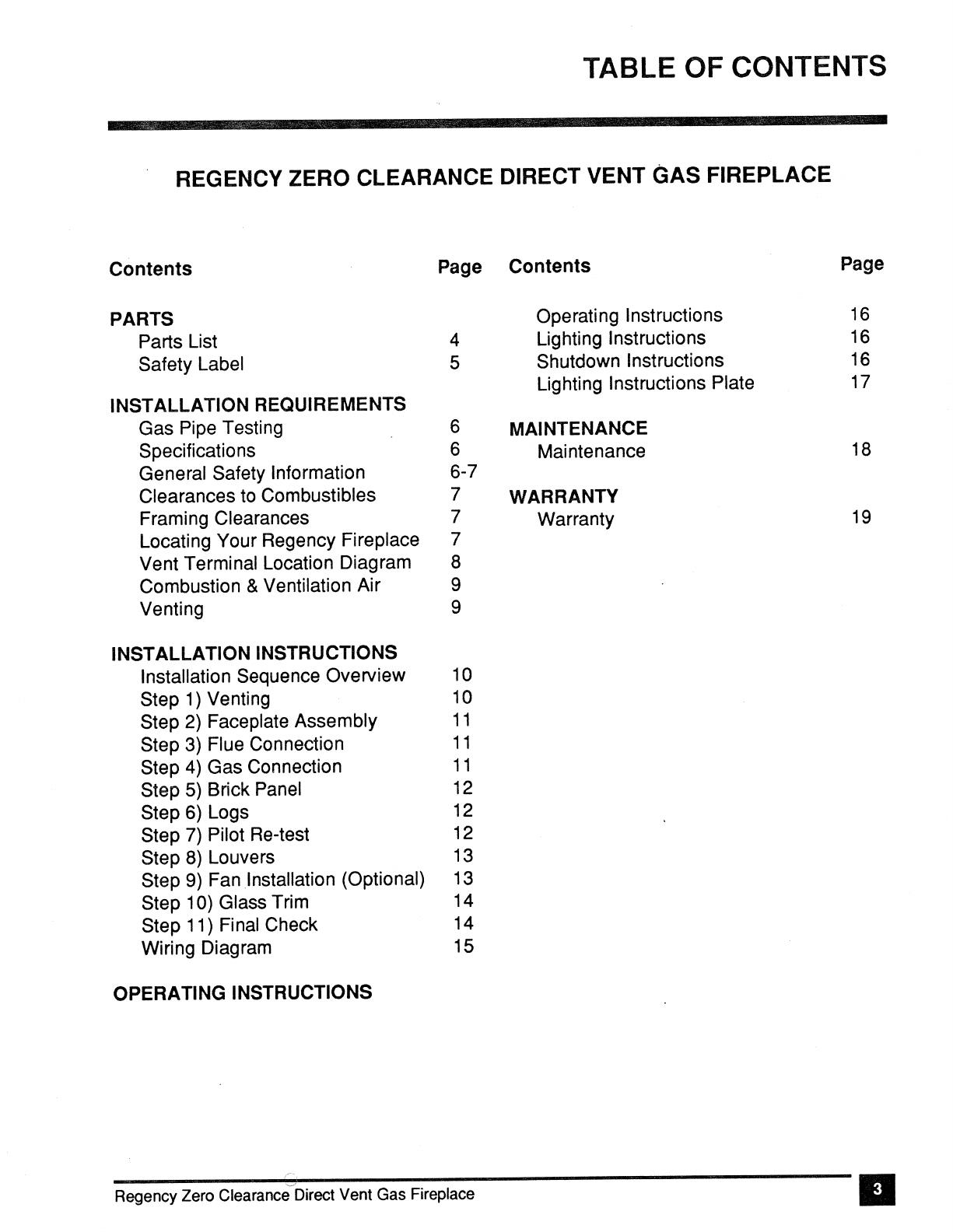 Regency Zero Clearance Direct Vent Gas Fireplace Z30dvt Lp Users Manual Fan Wire Diagram 33875