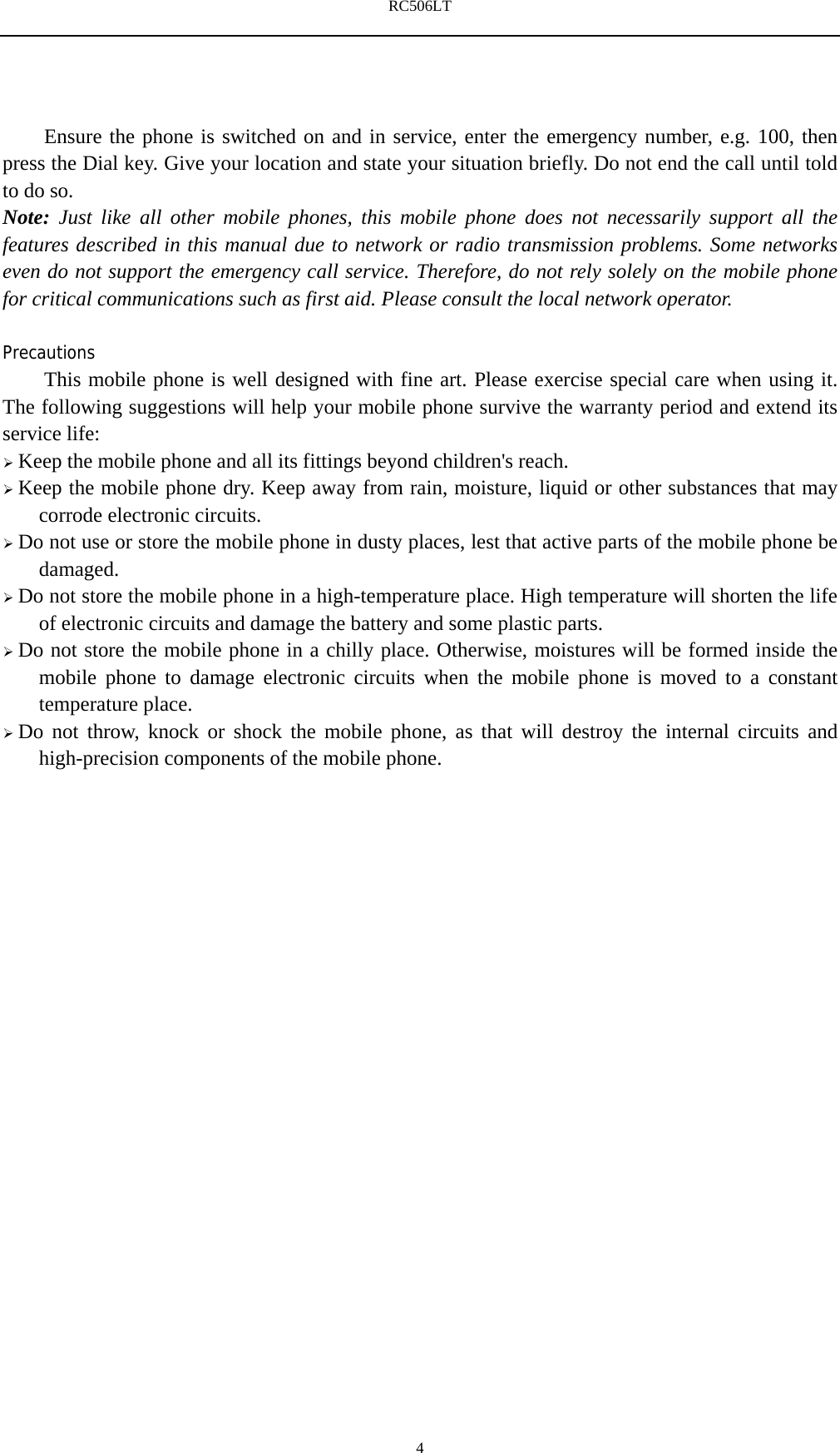 Reliance Communications RC506LT 4G Mobile Phone User Manual