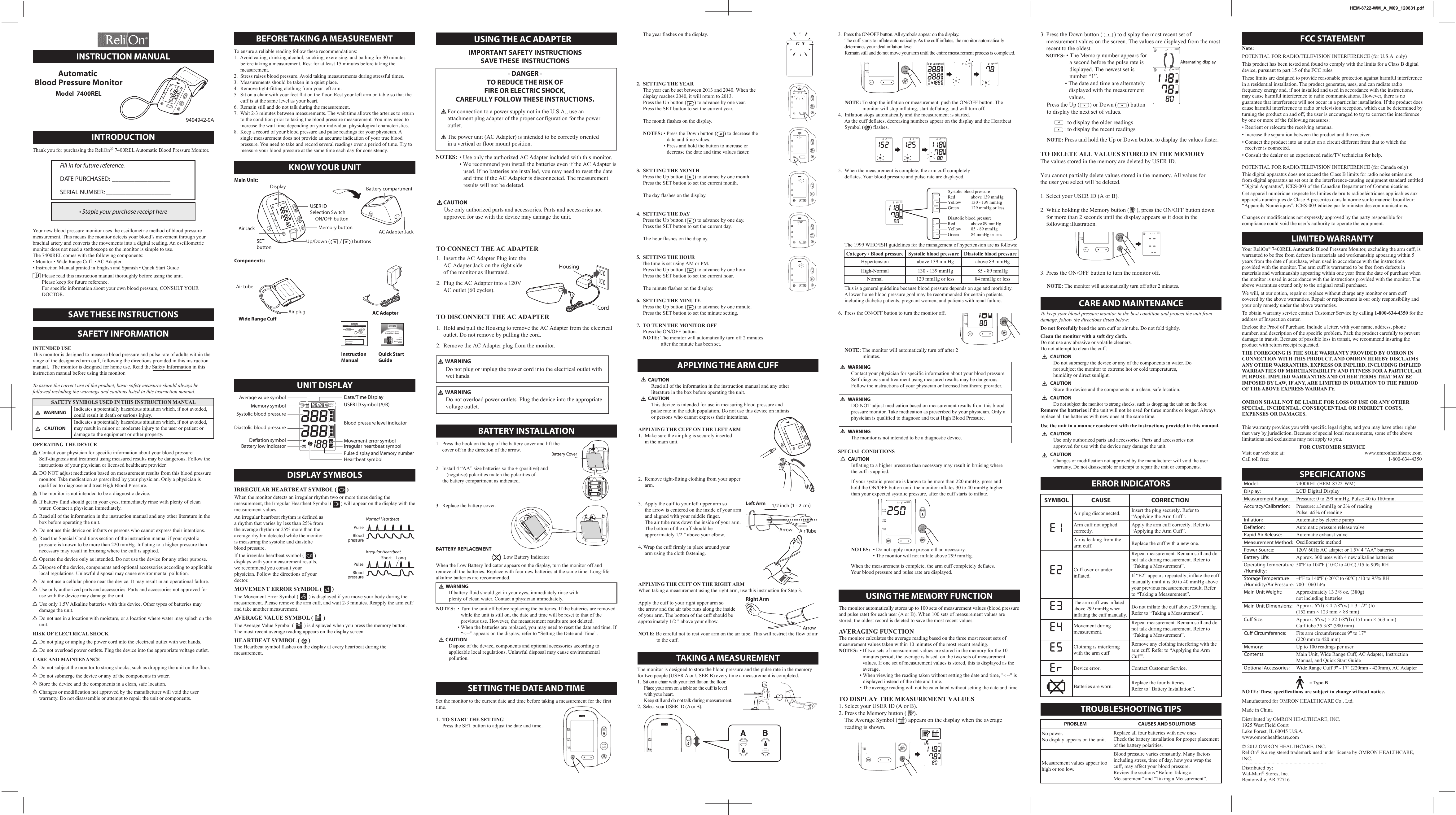 Relion Bp300 Owner S Manual 0831hem 8722 Wmam02eng