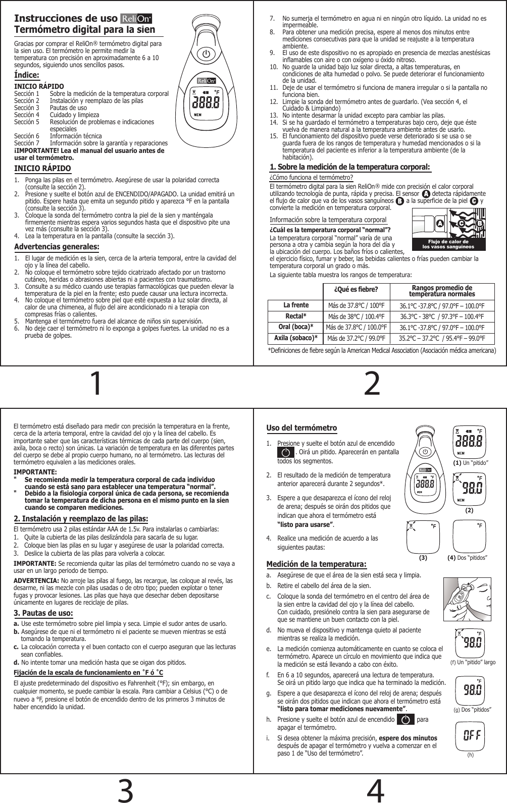 Relion Digital Temple Thermometer Instruction Manual