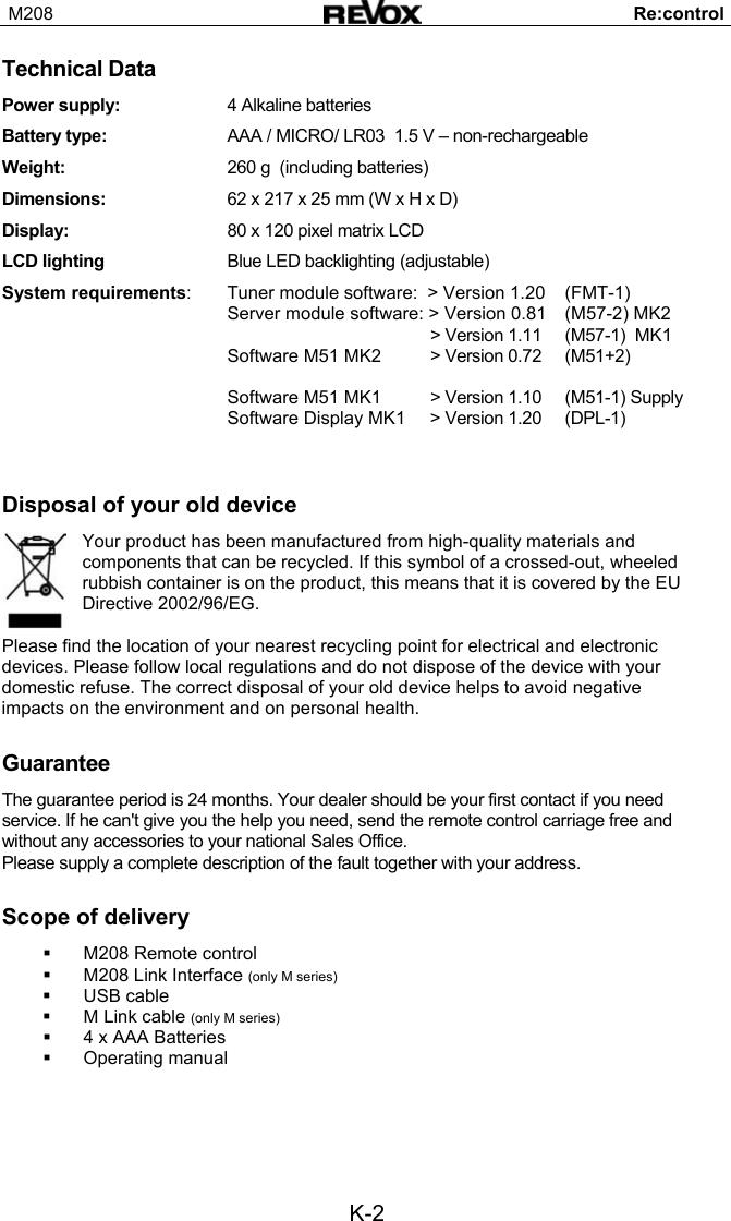 Revox M208 Users Manual GB