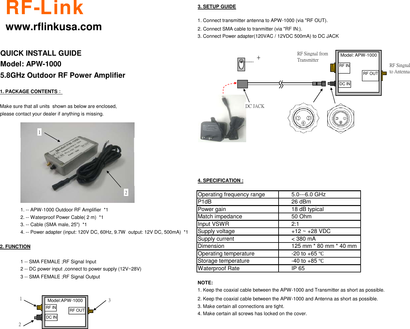Rf Link Technology Apw 1000 Users Manual Installation Guide