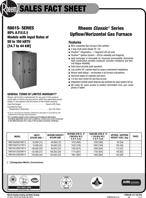 rheem classic series 80 afue r801s upflow horizontal sales fact sheet rh usermanual wiki Quick Reference Guide Quick Reference Guide