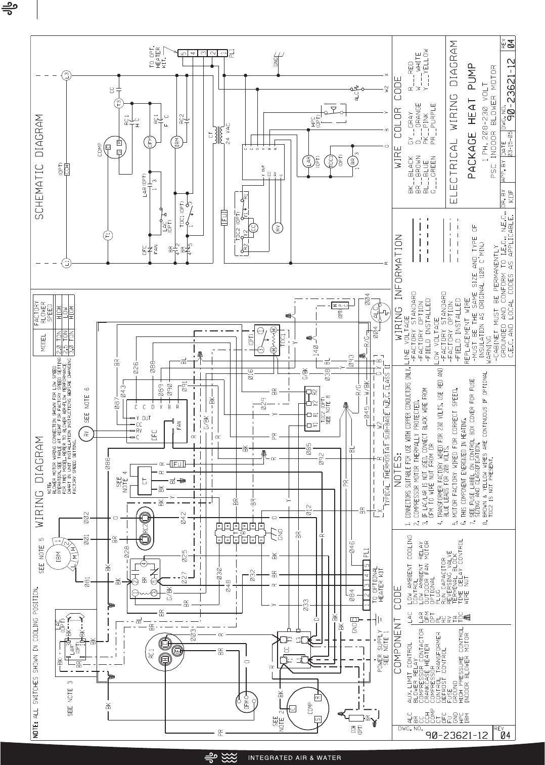 Rheem Classic Series Package Heat Pump Specification Sheet