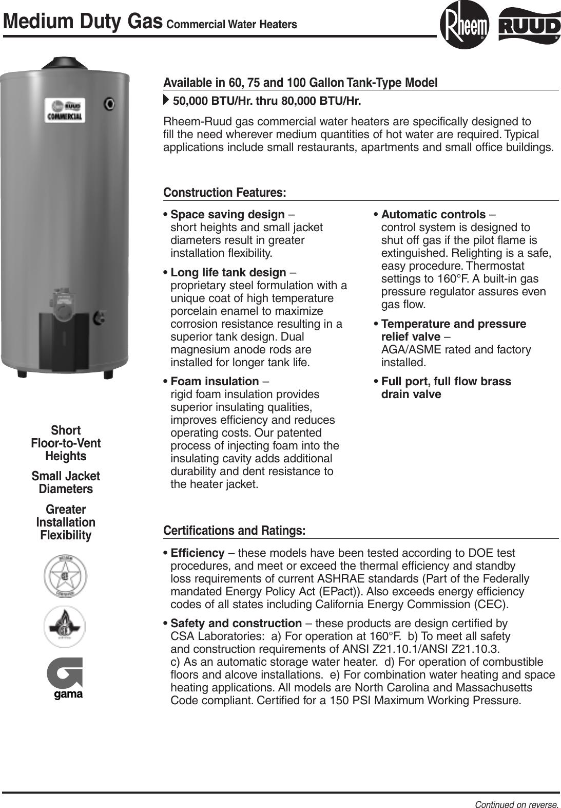 Rheem Medium Duty Gas Water Heaters60 75 100 Gallon Users