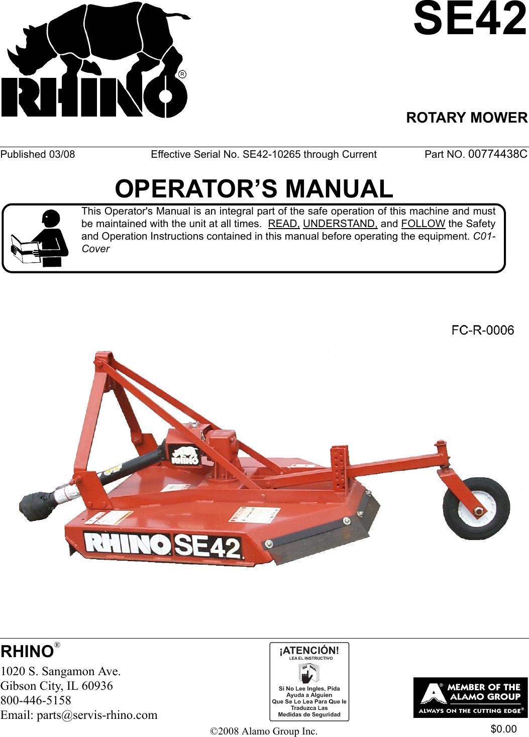 Rhino Mounts Se42 Users Manual BOOK