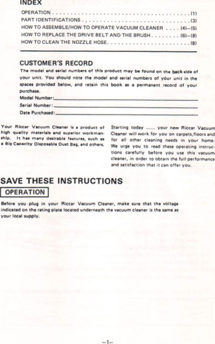Riccar 1950 Users Manual Vacuum_1950
