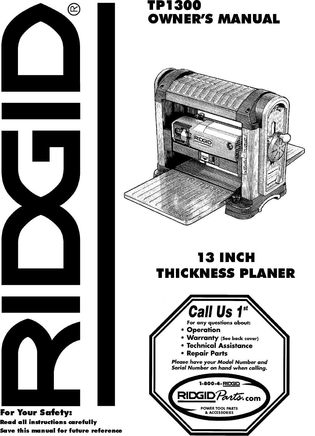 t13001 planer ridgid