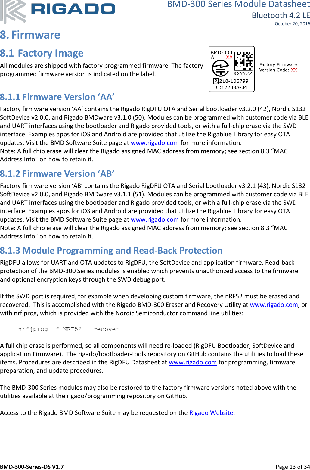 Rigado 05 BMD-350 User Manual BMD 300 Series Datasheet