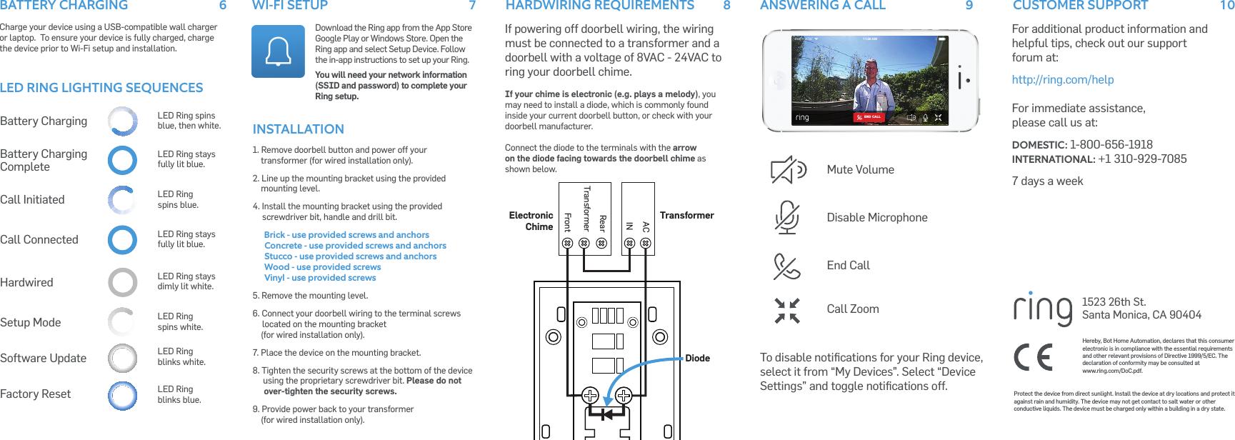 Ring BHARG031 Ring User Manual Ring Doorbell Users Manual 10 13