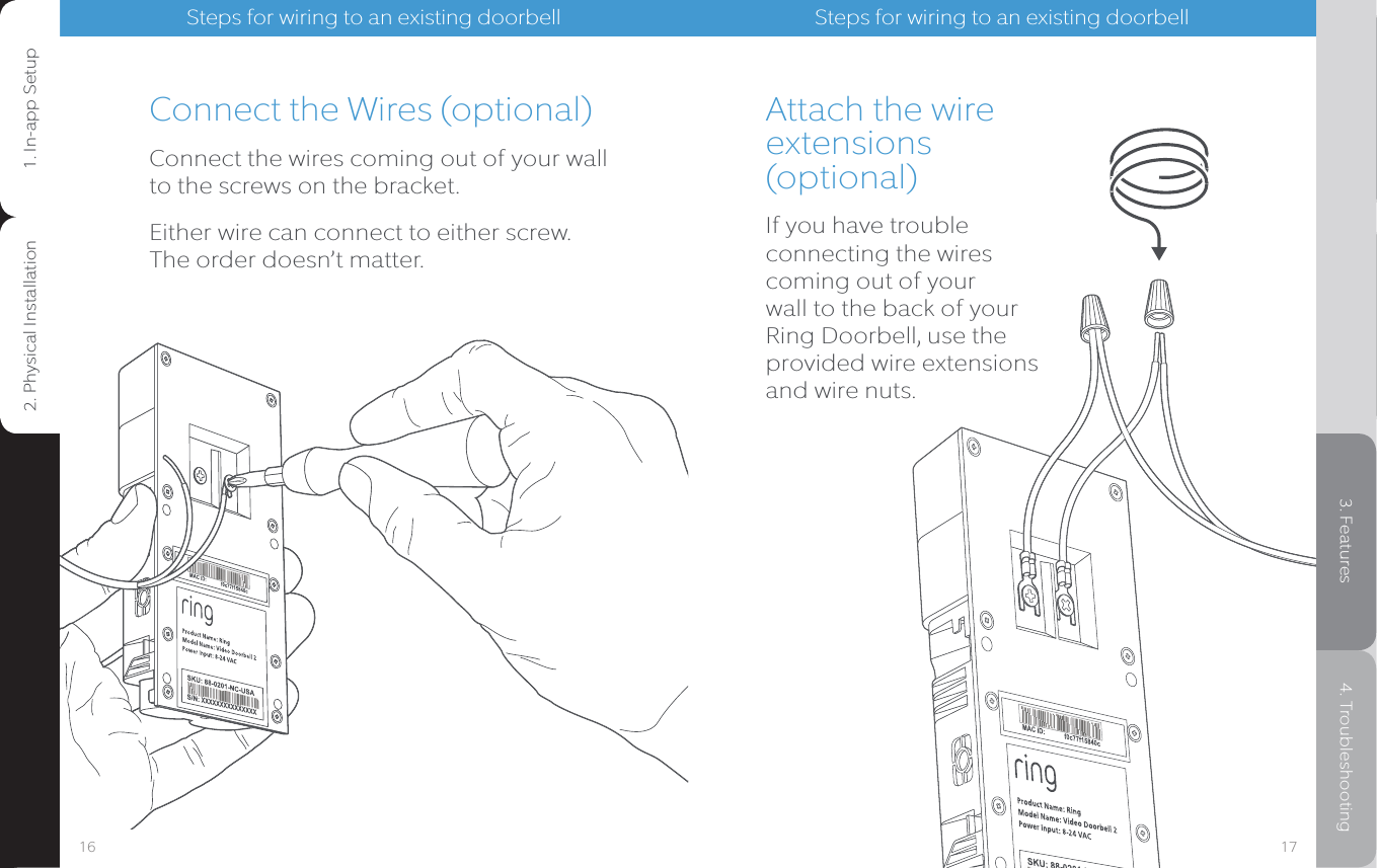 Ring Bharg041 User Manual Video Doorbell Setup And Electric Wiring Diagram Connect The Wires Optionalconnect Coming Out Of Your Wall To
