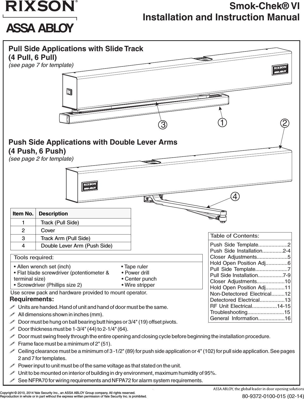 Rixson Smok Chek Vi Installation And Instruction Manual 80 9372 0100 015