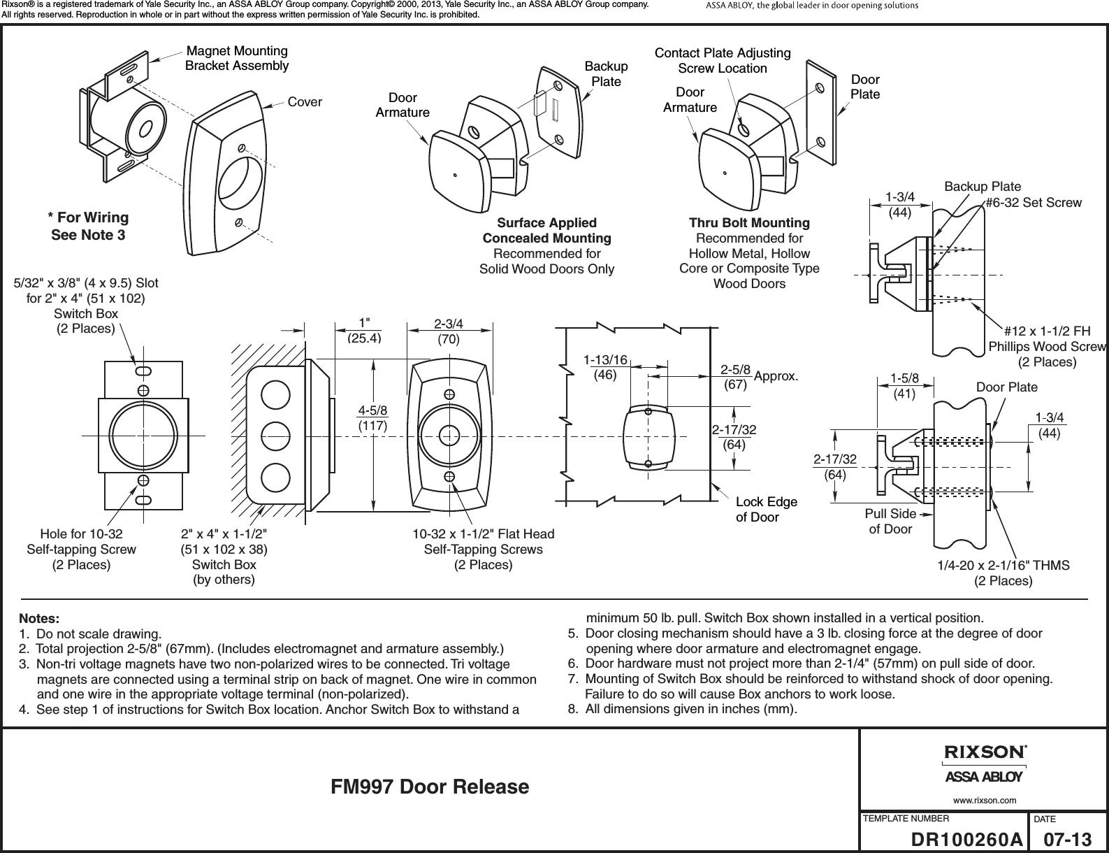 Rixson Fm997 Door Release Dr100260 46 Packard Wiring Diagram