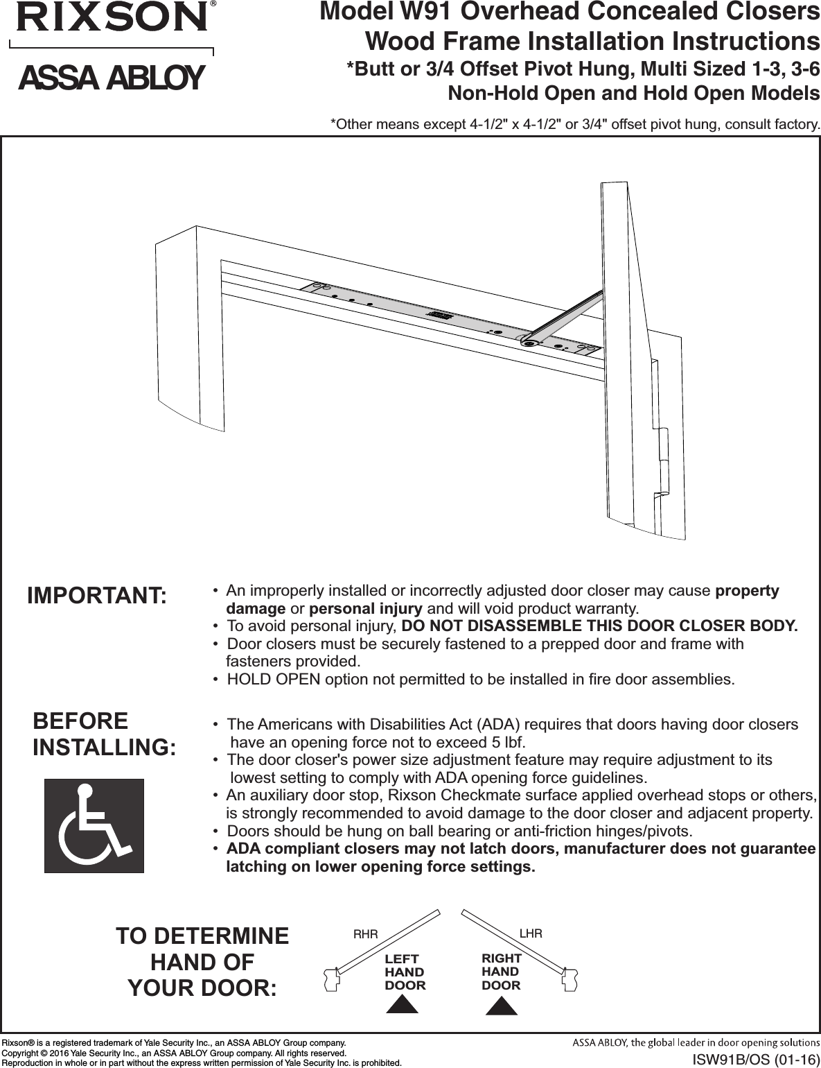 Rixson Isw91b Os 01 16 W91 Overhead Concealed Closers Wood Frame